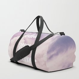 Follow your dreams - pink and purple clouds Duffle Bag