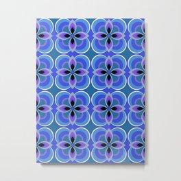 Retro 1970s Navy Blue Floral Pattern Metal Print