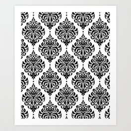 Black and White Damask Kunstdrucke