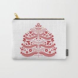 Red Scandinavian Folk Art Christmas Tree Tasche