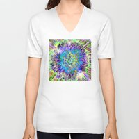 tie dye V-neck T-shirts featuring Abstract Colorful Tie Dye by Phil Perkins