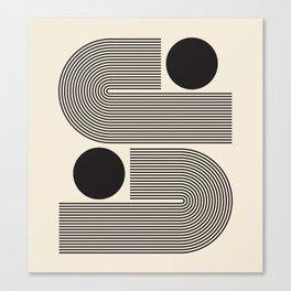 Abstraction_BLACK_LINE_DOT_POP_ART_Minimalism_004D Canvas Print