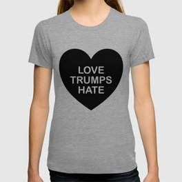 LOVE TRUMPS HATE HEART in BLACK T-shirt