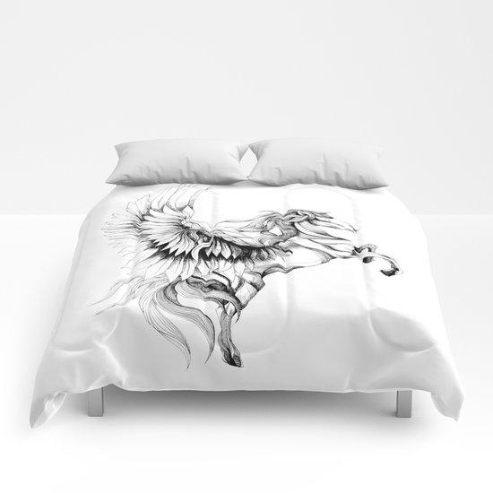 Pegasus (black stroke version for t-shirts) Comforters