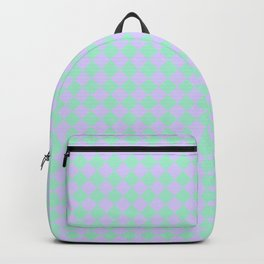 Magic Mint Green and Pale Lavender Violet Diamonds Backpack