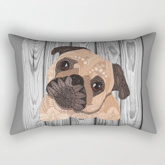 Pug Hug Rectangular Pillow