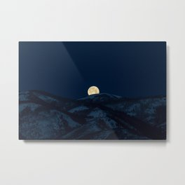 Moonset on the Wasatch Back Metal Print