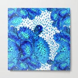 Flowers of Paradise - In Skuba Blue and Aqua Metal Print
