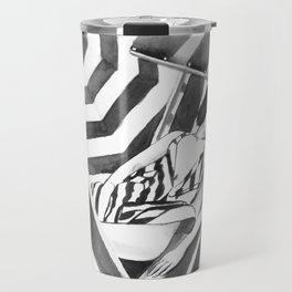 Summer vacation minimal black and white drawing Travel Mug