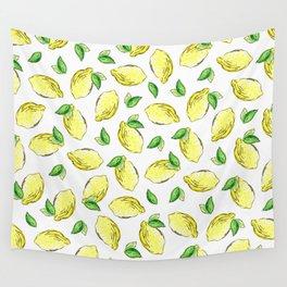 Lemon Watercolor Pattern Wall Tapestry