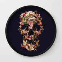 ali Wall Clocks featuring Jungle Skull by Ali GULEC
