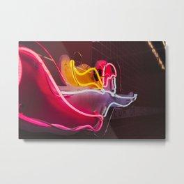 Neon Swimmer Metal Print