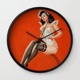 Peter Driben Pin-Up In Maid Uniform Wall Clock