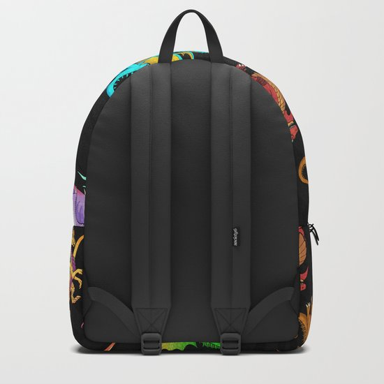 7d63c940b9b5 Colorful Rainbow Dragons School Backpack by nyctherion