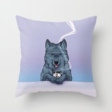 Tea Wolf Throw Pillow