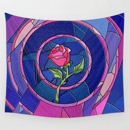 Rose Flower Stained Glass Wall Tapestry
