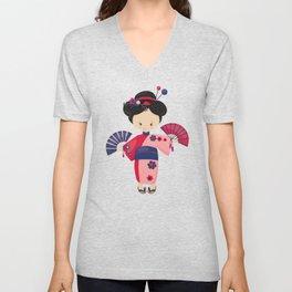 Japanese Girl, Cute Girl, Girl In Pink Kimono Unisex V-Neck