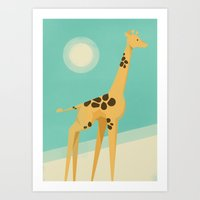 giraffe Art Prints featuring Giraffe by Jay Fleck