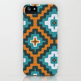 Turkish Kilim textured rug print in teal and orange, Bohemian iPhone Case