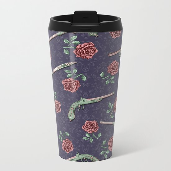 Elegant Guns, Knives and Roses on Blue Metal Travel Mug
