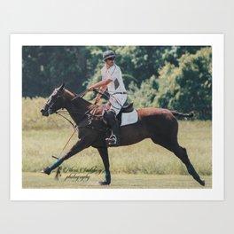 Bay Cantering Polo Pony Art Print