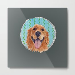 You're Never Fully Dressed without a Smile, Golden Retriever, Whimsical Watercolor Painting, Grey Metal Print