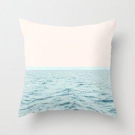 Sea Breeze, Minimal Nature Ocean Photography, Scenic Landscape Pastel Luxe Sea Throw Pillow