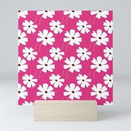 Modern White Floral Pattern On Raspberry Red Seedless Jam Mini Art Print