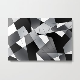 ABSTRACT LINES #1 (Black, Grays & White) Metal Print