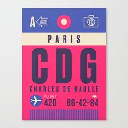 Retro Airline Luggage Tag - CDG Paris Charles de Gaulle Canvas Print
