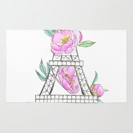 Eiffel tower and peonies Rug