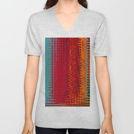 Warm red & turquoise Floor Pattern Art Unisex V-Neck