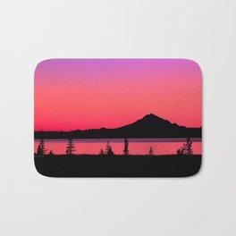 Pink Sunset Silhouette - Mt. Redoubt, Alaska Bath Mat
