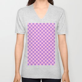 Cotton Candy Pink and Lavender Violet Checkerboard Unisex V-Neck