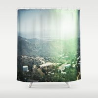 hollywood Shower Curtains featuring Hollywood by Joëlle Paquet
