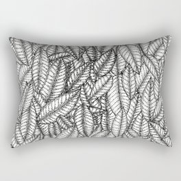 Black and White Botanical Leaf Print with Stick and Poke Style Rectangular Pillow