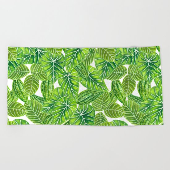 Watercolor tropical leaves pattern design Beach Towel