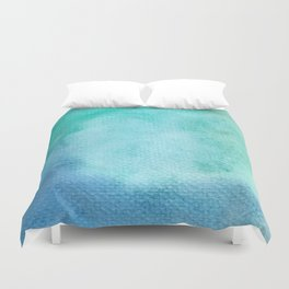 Blue Green Turquoise Watercolor Texture Duvet Cover
