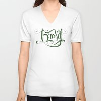 brasil V-neck T-shirts featuring BRASIL by Roberlan Borges