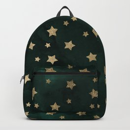 Modern gold christmas stars geometric pattern green watercolor Backpack