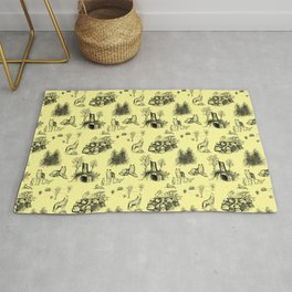Eurasian Wolf Toile Pattern (Yellow and Black) Rug