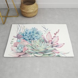 Pretty Pastel Succulents Rug