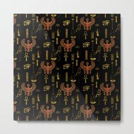 Horus Falcon  and Egyptian hieroglyphs pattern Metal Print