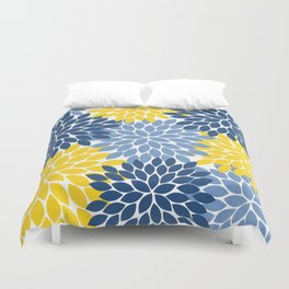 Blue Yellow Flower Burst Floral Pattern Duvet Cover