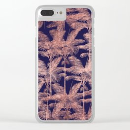 Elegant faux rose gold modern navy blue palm tree Clear iPhone Case