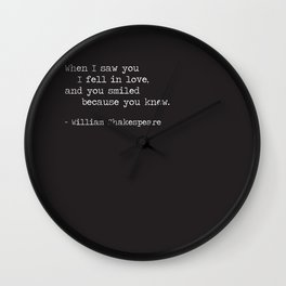 Shakespeare Quote: LOVE (white on black) Wall Clock