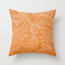 Sheffield, England, Gold, Blue, City, Map Throw Pillow