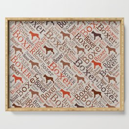 Boxer dog Word Art Serving Tray