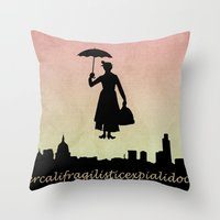 mary poppins Throw Pillows featuring mary poppins by cubik rubik