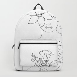 Minimal Line Art Woman with Flowers IV Backpack